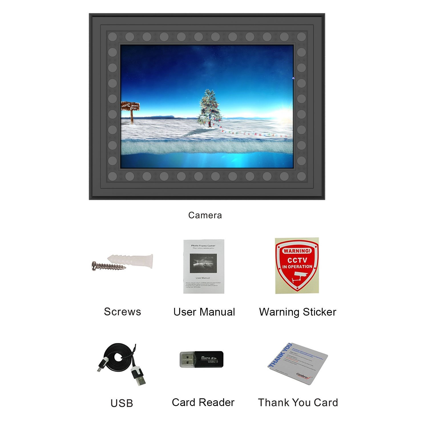 Hidden Spy Camera Photo Frame Conbrov T10a Hd 720p Home Security