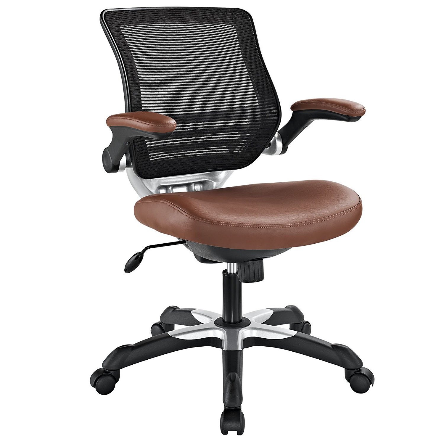 Modway Edge Mesh Back And Tan Vinyl Seat Office Chair With Flip Up